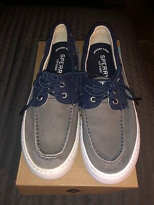 109117f7797bc SPERRY TOP-SIDER MENS Cutter 2-Eye Ballistic Grey/Navy Shoe STS15303 SIZE 8M