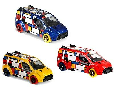 Lot 3 Hot Wheels Mondrian-Style Ford Transit Connect Art Cars in Primary Colors