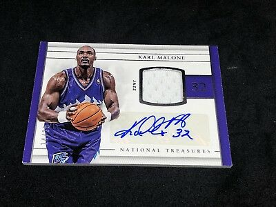2016-17 National Treasures Karl Malone Patch Auto #d /25 Utah Jazz