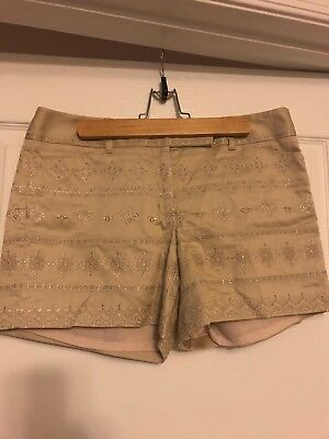 NWT White House Black Market Gold Embroidered Dress Shorts