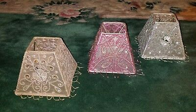 3 Vint Shabby Netted Fancy Beaded Cafe Chandelier Lamp Shades Pink Blue Fuschia