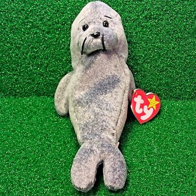 NEW Ty Beanie Baby Slippery The Seal Retired Plush Toy - MWMT