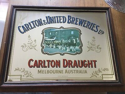 Carlton Draught Bar Mirror sign - RARE ORIGINAL VINTAGE 1979