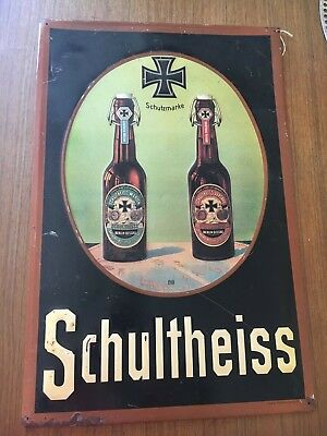 Schultheiss Beer Tin Sign ~1910 Iron Cross - RARE ORIGINAL VINTAGE