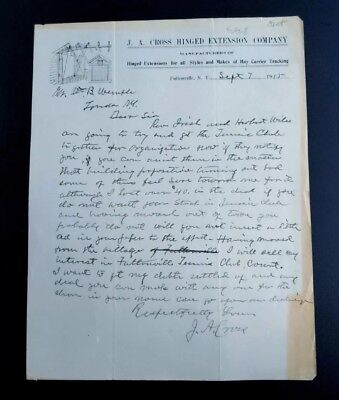 1915 Illustrated Letter Head Fultonville N.Y J.A Cross Hinged Extension Co ~Hay