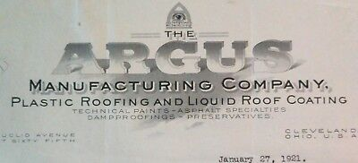 1921 Antique Letterhead ARGUS Manufacturing Co Roofing Cleveland Ohio