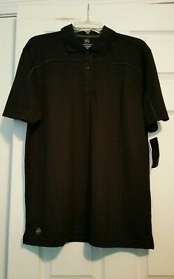 7cc32975 NEW Stormtech IPS-2 Men's Size L Large Black Gray Trim Golf Polo Shirt NWT
