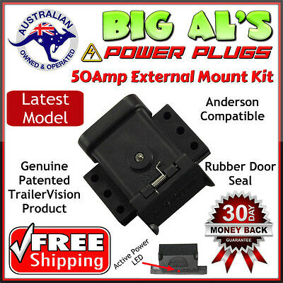 50Amp Trailer Vision External Flat Mount Dust  Cap Bracket Cover Anderson Plug