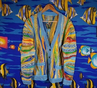Vintage 90s Coogi Sweater Size Large Cardigan Knit Knitwear 100% Cotton Retro