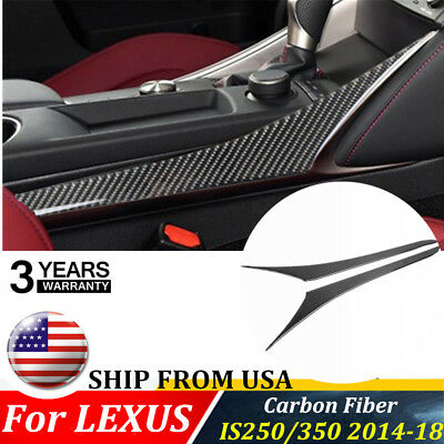 Pair For LEXUS IS250/350 2014-18 Carbon Fiber Middle Gear Shift Strips Trim USA