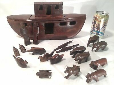 VINTAGE SOLID TEAK WOOD HAND CARVED Noah's Ark with Noah, Naamah, and Animals