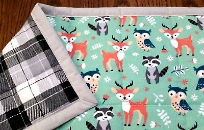 "HANDMADE ""WOODLAND ANIMALS""34x43in CUTE  FLANNEL BABY/TODDLER  QUILTED BLANKET"
