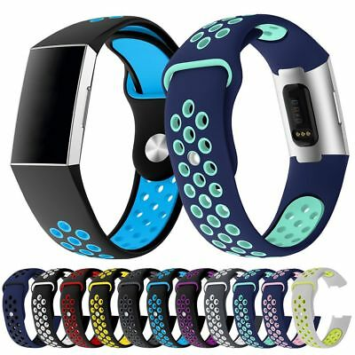 Replacement Silicone Sport Porous Breathable Watchband Strap For Fitbit Charge 3