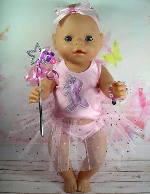 """Dolls clothes for 17"""" Baby Born doll~STANDING UNICORN~PINK FAIRY WING DRESS SET"""