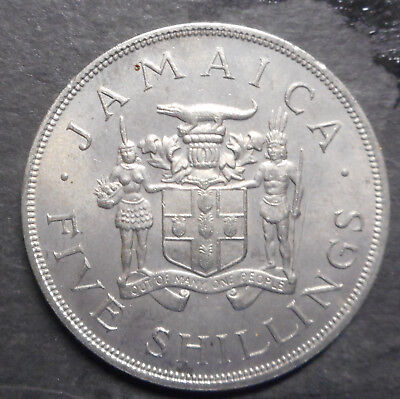 Jamaica 1966 Commonwealth Games Five Shilling Crown Coin aUNC NICE