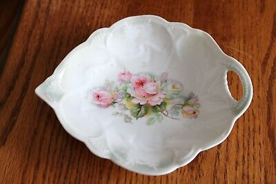 Germany - Pink White Roses - Iridescent accents - Teardrop Nut Bowl, Candy Dish