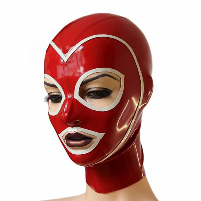 Women Sexy Latex Hood Mask Unisex Rubber  Cosplay Clubwear Gummi 0.4mm