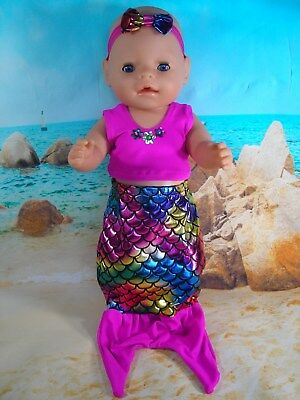 """Dolls clothes for 17"""" Baby Born Doll~PINK MERMAID TAIL OUTFIT ~ HAIR BOW"""