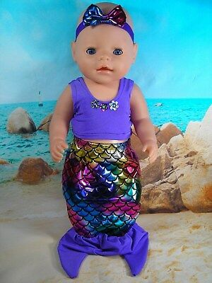 """Dolls clothes for 17"""" Baby Born Doll~PURPLE MERMAID TAIL OUTFIT ~ HAIR BOW"""