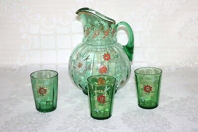 Green Art Glass Hand Blown Decorated Flowers Floral Pitcher & 3 Glasses Tumblers