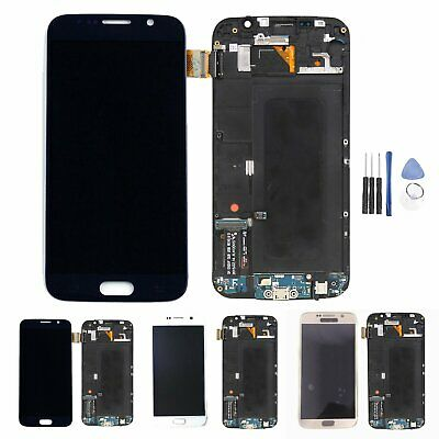 For Samsung Galaxy S6 G920 SM-G920F LCD Display Touch Screen Digitizer +Frame BK