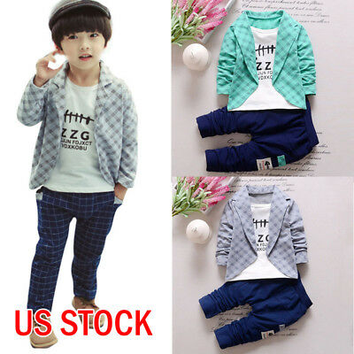 2Pcs Toddler Infant Kids Baby Boys Clothes Plaid Shirt Tops Pants Outfits Set US