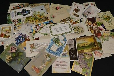 36 x Antique Birthday & Holiday Color Postcards w/ Cancels & Stamps 1900s-20s