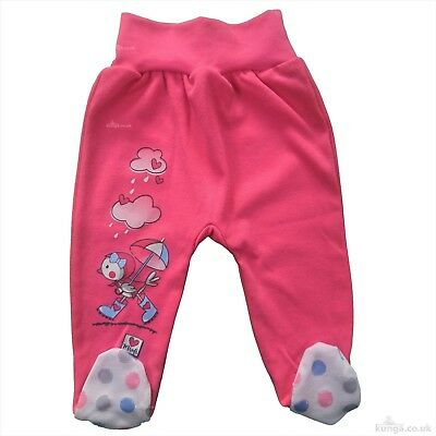 BNWT Baby Infant Girls CORAL Trousers with feet 9-12 Months 100% COTTON