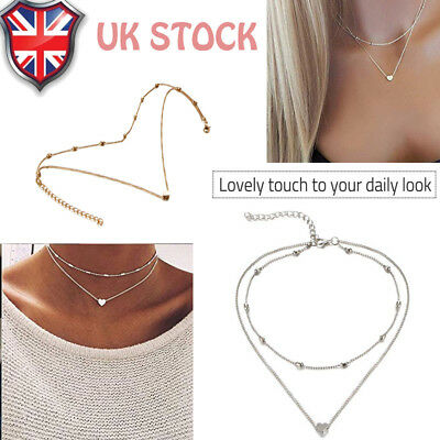 Silver Gold Plated Double Layer Beaded Chain Choker Necklace Heart Pendant Gift*