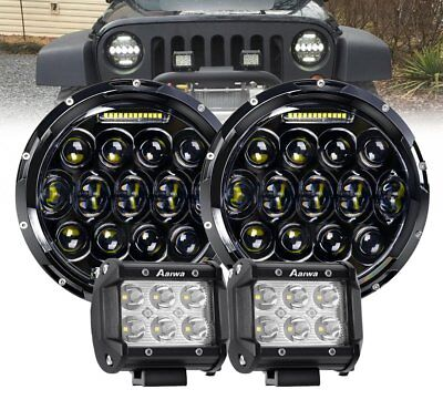 """Pair 7"""" inch Black For JEEP JK GQ PATROL Projector LED Headlight DRL + 4"""" Pods"""