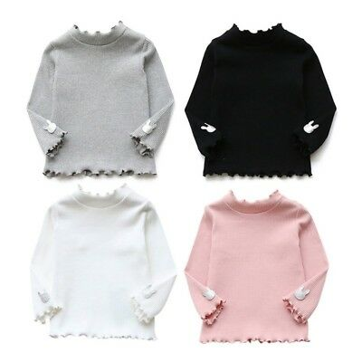 Baby Kids Girl Ruffle Neck Long Sleeve Knitted Sweater Pullover Blouse Tops 2-7Y