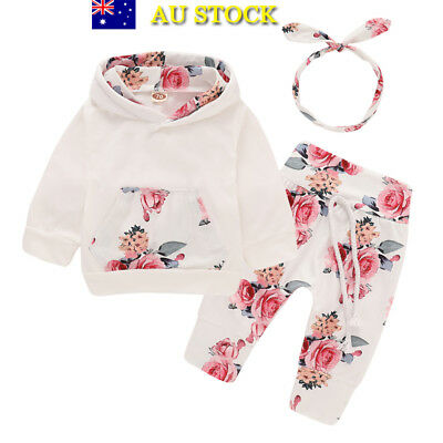 Baby Girls Toddler Floral Hooded Hoodies Top+Pant+Headband Winter Outfit Clothes