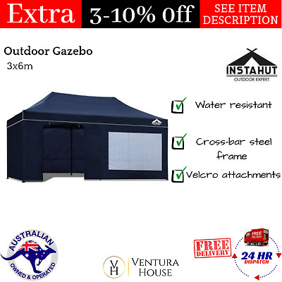Outdoor Gazebo 3x6m Marquee Canopy Tent Pop Up Wedding Party Instahut New - Navy