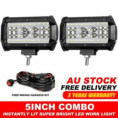 2X 5inch CREE LED Work Light Bar Spot Flood OffRoad Driving Lamp Reverse+ Wire