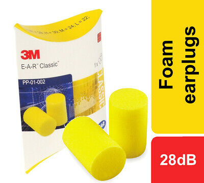3M EAR Classic Foam Earplugs Uncorded SNR 28dB Noise Protection Work or Leisure