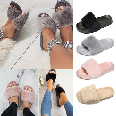 cfb27c43810d Ladies Womens Slip On Fluffy Fur Flat Slippers Sliders Flip Flops Shoes  Sizes