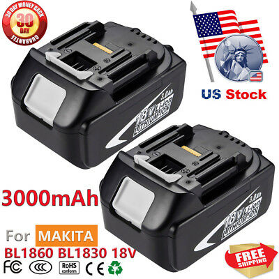 2X Replace For MAKITA 18V BL1830 BL1815 3.0AH Lithium-Ion Battery LXT 400 BL1860
