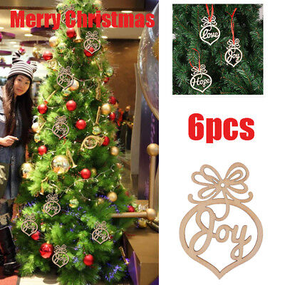 143A 6PCS Carve Wooden Letter Pattern Christmas Hanging Pendant Decoration with