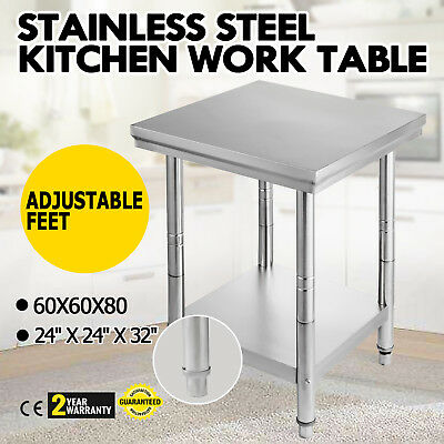"""24"""" x 24"""" Stainless Steel Work Prep Table Cafeteria Kitchen Restaurant House"""