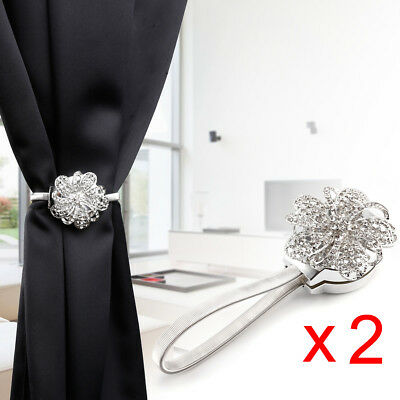 2 x Magnetic Crystal Curtain Tie Backs Clip Holders for Voile Nets & Curtains