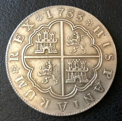 SILVER Coin 8 Reales 1733 Phillipus 5 Colonial Spain
