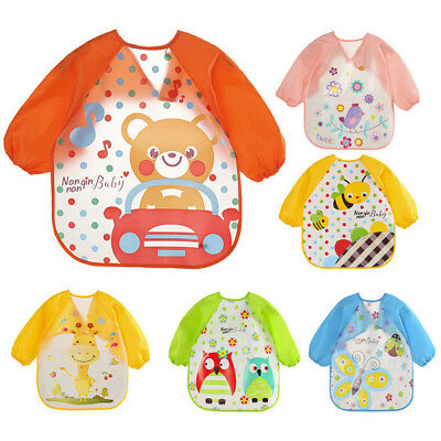 Baby Toddler Kids Waterproof Long Sleeve Bibs Apron Mickey Cartoon Feeding Smock