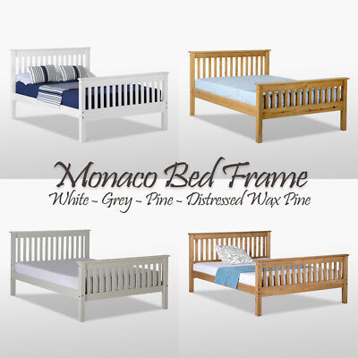 Monaco Bed Frame High Foot End Pine Wood Headboard Double King Single Colours