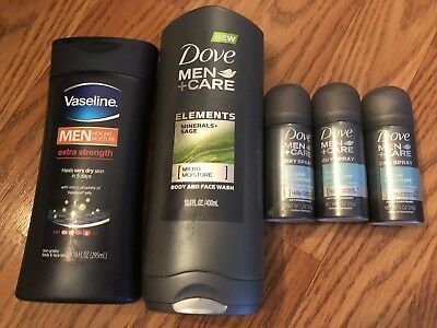 Dove Men+Care Body and Face Wash Clean Comfort 13.5 oz Lot Of 5 Lotion Bonuses