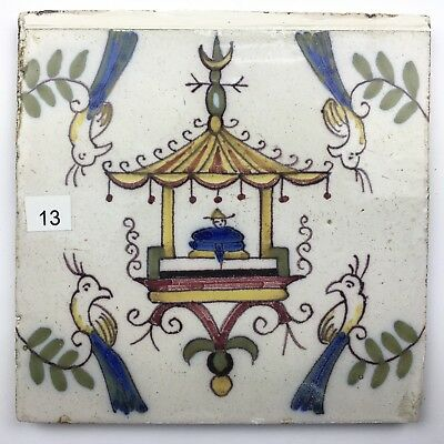 Polychrome Fliese Kachel Delft Dutch Tile Keramik