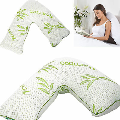 V shaped Bamboo Memory Foam Pillow Orthopedic & Pregnancy Back Support Cushion