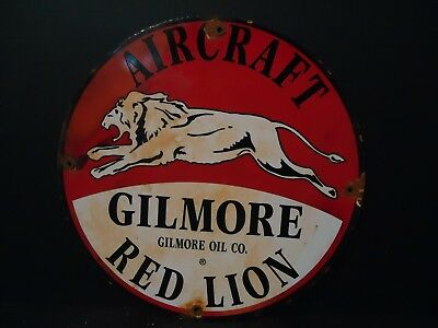 Old Used Gilmore Aircraft Red Lion  Porcelain Gas Pump Sign