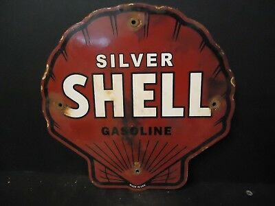 Old Used 1950's Silver Shell Gasoline Porcelain Gas & Oil Pump Sign Advertising