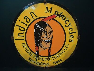 Vintage 1950's Indian Motorcycles Porcelain Advertising Sign Springfield, Mass.