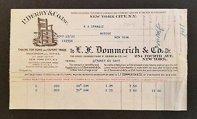 1922 Antique Invoice / Art ~ P. Derby & Co. Inc. - Chairs for Home & Export ~ NY